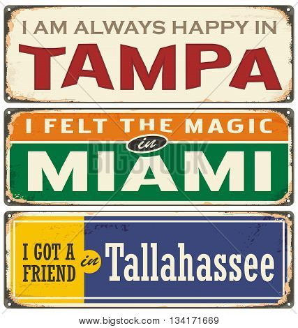 Vintage tin sign templates collection with USA cities. Miami, Tampa and Tallahassee.
