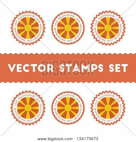 I Love Macedonia, The Former Yugoslav Republic Of Vector Stamps Set. Retro Patriotic Country Flag Ba
