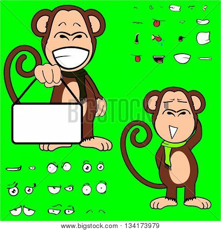 monkey cartoon expressions set in vector format very easy to edit