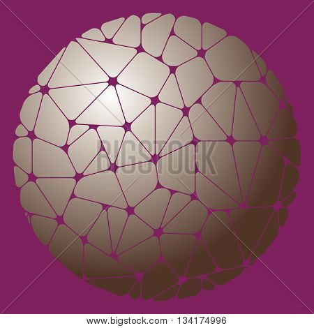 Abstract pattern of geometric elements grouped in a circle on a purple background. Vector illustration.