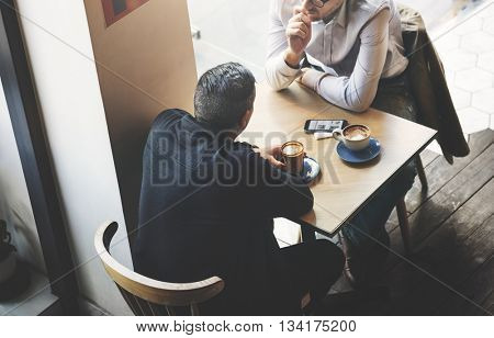 Business Talk Coffee Cafe Meeting Concept
