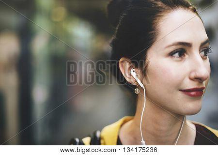 Woman Listening Music MediaTraveling Concept