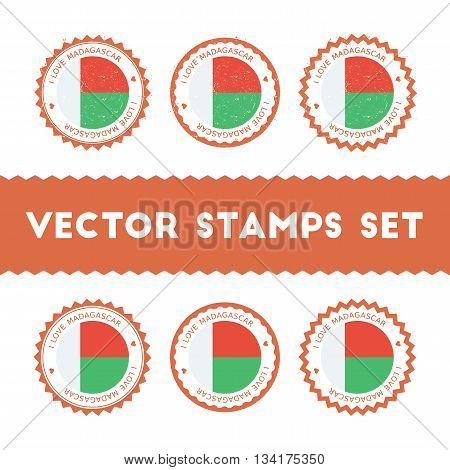 I Love Madagascar Vector Stamps Set. Retro Patriotic Country Flag Badges. National Flags Vintage Rou