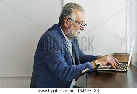 Old Businessman Computer Work Concept
