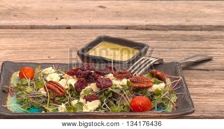 Summer salad with micro greens, feta cheese, tomatoes, dried cherries, pecans and a cilantro salad dressing on a rustic wood picnic table.