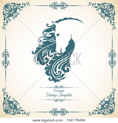 Vintage template with ornament and decorative horse. Vector illustration