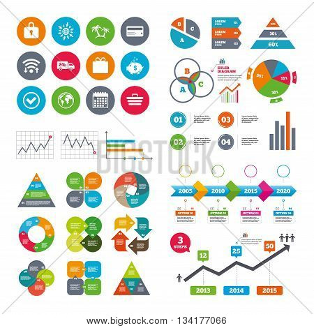 Wifi, calendar and web icons. Online shopping, e-commerce and business icons. Credit card, gift box and protection signs. Piggy bank, delivery and tick symbols. Diagram charts design.