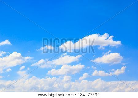 Sky background. Beautiful blue sky and white clouds.