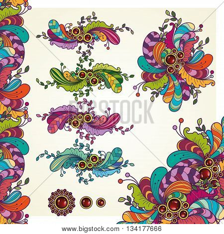 Vector set- Abstract floral ornamental colorfil doodle design elements