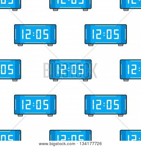 Electronic watch. Flat color icon. Seamless pattern with clock. Vector illustration
