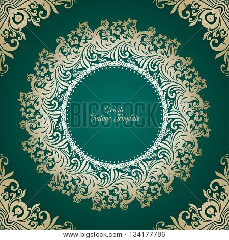 Vector decorative green background with round ornamental  frame