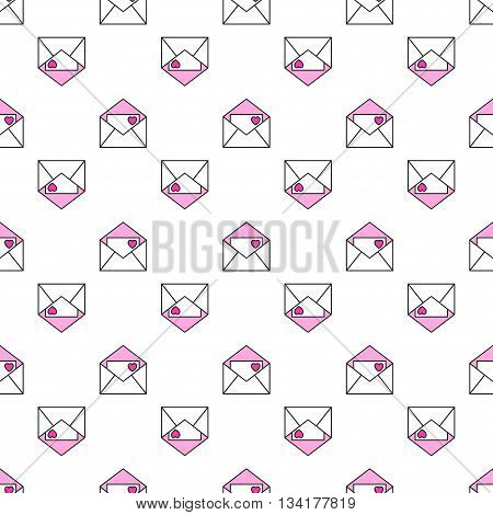 Seamless pattern of envelopes with hearts, love, romantic message. Vector illustration