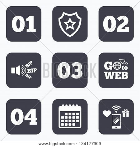 Mobile payments, wifi and calendar icons. Step one, two, three and four icons. Sequence of options symbols. Loading process signs. Go to web symbol.