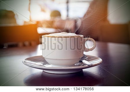 Coffee shop cafe Interior with table ,selective focus