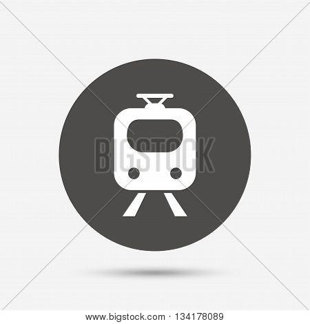 Subway sign icon. Train, underground symbol. Gray circle button with icon. Vector