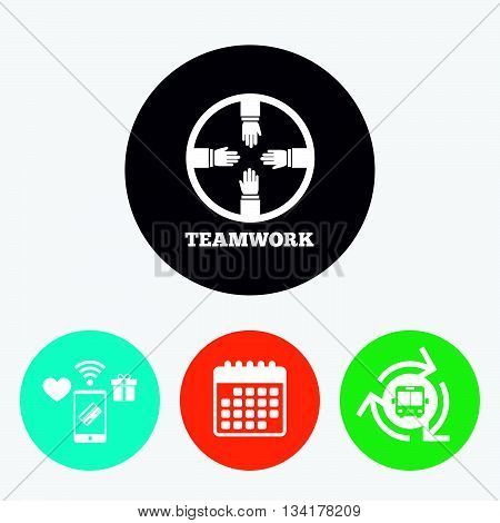 Teamwork sign icon. Helping Hands symbol. Group of employees working together. Mobile payments, calendar and wifi icons. Bus shuttle.