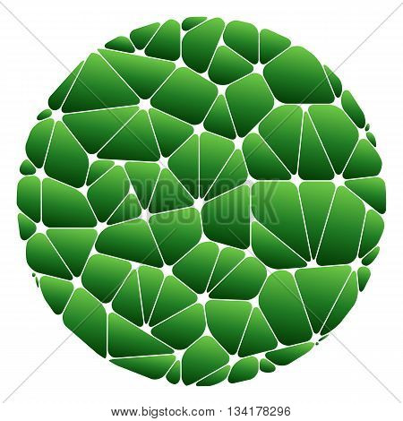 Abstract pattern of green geometric elements grouped in a circle on a white background. Vector illustration.