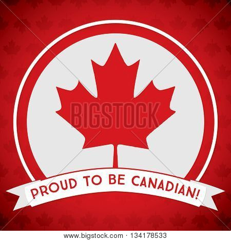 Circle Canada Day Maple Leaf Card In Vector Format.
