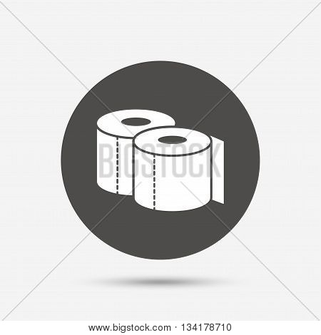 Toilet papers sign icon. WC roll symbol. Gray circle button with icon. Vector