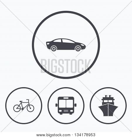 Transport icons. Car, Bicycle, Public bus and Ship signs. Shipping delivery symbol. Family vehicle sign. Icons in circles.