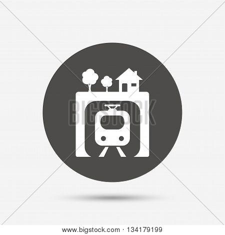 Underground sign icon. Metro train symbol. Gray circle button with icon. Vector