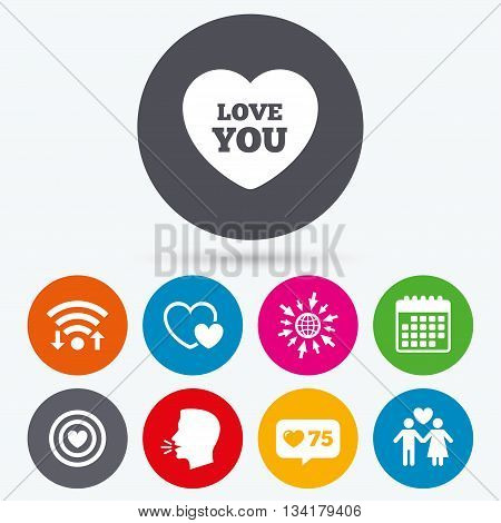 Wifi, like counter and calendar icons. Valentine day love icons. Target aim with heart symbol. Couple lovers sign. Human talk, go to web.