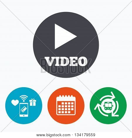 Play video sign icon. Player navigation symbol. Mobile payments, calendar and wifi icons. Bus shuttle.
