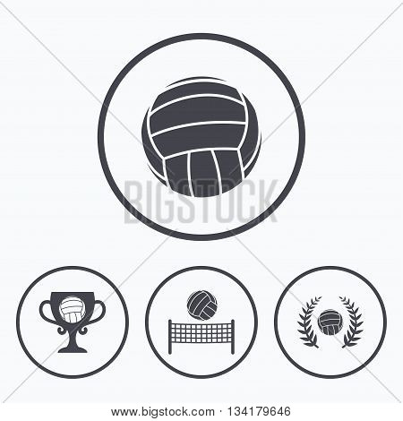 Volleyball and net icons. Winner award cup and laurel wreath symbols. Beach sport symbol. Icons in circles.