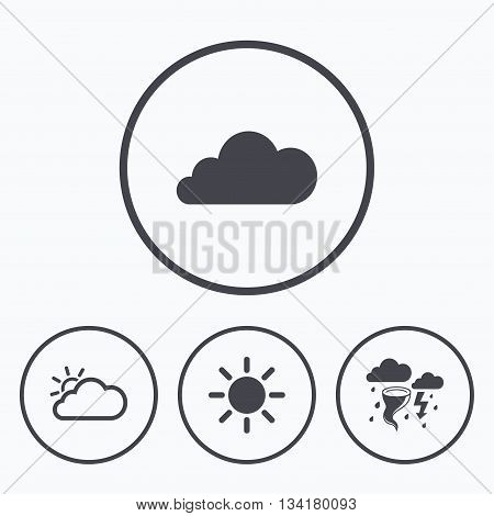 Weather icons. Cloud and sun signs. Storm or thunderstorm with lightning symbol. Gale hurricane. Icons in circles.