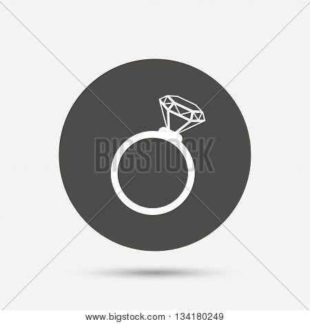 Ring sign icon. Jewelry with diamond symbol. Wedding or engagement day symbol. Gray circle button with icon. Vector