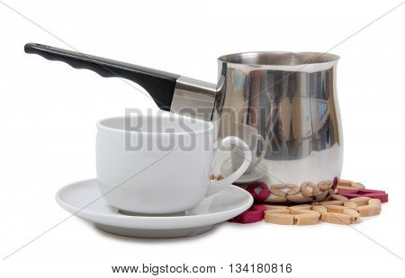 Porcelain cup and metal pots on a white background