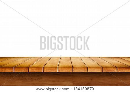 Empty wooden table with white background. For display or montage your products.