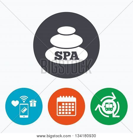 Spa sign icon. Spa stones symbol. Mobile payments, calendar and wifi icons. Bus shuttle.