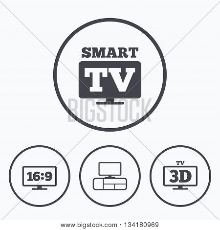 Smart TV mode icon. Aspect ratio 16:9 widescreen symbol. 3D Television and TV table signs. Icons in circles.