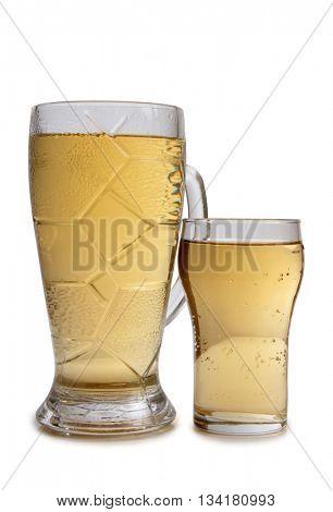 Large beer mugs on white background