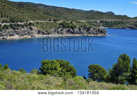 a view of the coast of the Costa Brava, Catalonia, Spain, with a clear blue seawater