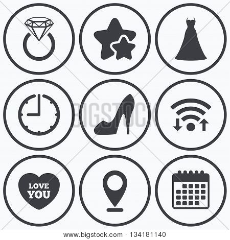 Clock, wifi and stars icons. Wedding dress icon. Women's shoe and love heart symbols. Wedding or engagement day ring with diamond sign. Calendar symbol.