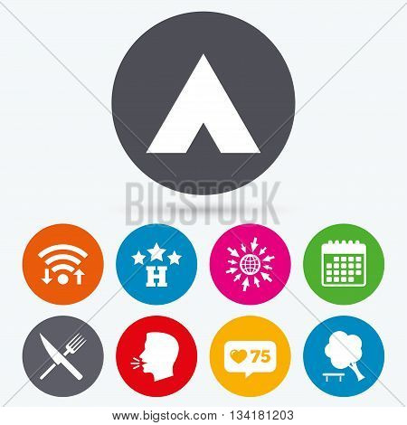Wifi, like counter and calendar icons. Food, hotel, camping tent and tree icons. Knife and fork. Break down tree. Road signs. Human talk, go to web.