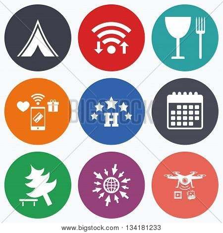 Wifi, mobile payments and drones icons. Food, hotel, camping tent and tree icons. Wineglass and fork. Break down tree. Road signs. Calendar symbol.