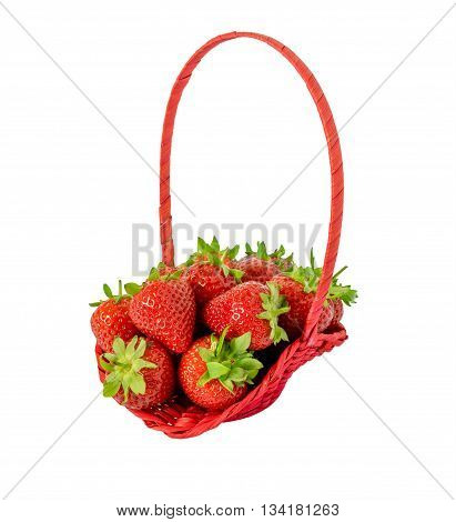 Strawberries in wooden basket isolated on white.