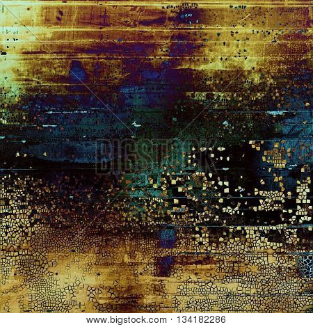 Old grunge vintage background or shabby texture with different color patterns: yellow (beige); brown; green; blue; purple (violet); black