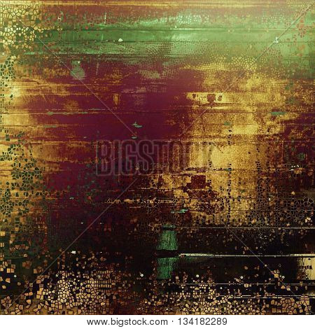Background with dirty grunge texture, vintage style elements and different color patterns: yellow (beige); brown; green; red (orange); purple (violet); black