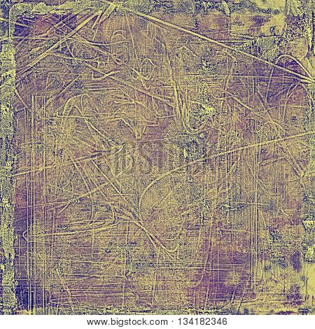 Highly detailed scratched texture, aged grungy background. Vintage style composition with different color patterns: yellow (beige); brown; gray; purple (violet); pink