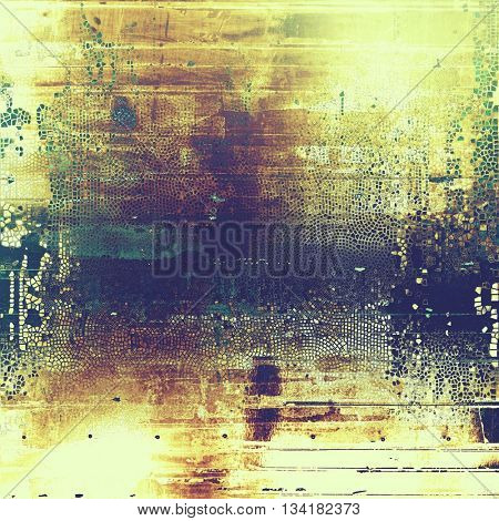 Highly detailed scratched texture, aged grungy background. Vintage style composition with different color patterns: yellow (beige); brown; green; blue; purple (violet)