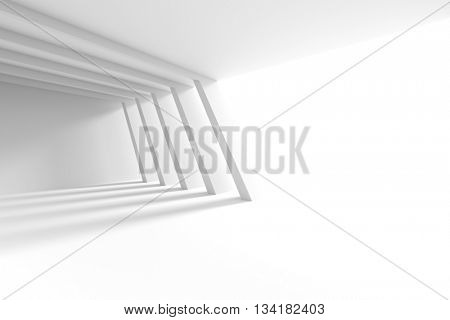 3d Illustration of White Building Construction. Abstract Architecture Background. Interior Design with Columns and Window