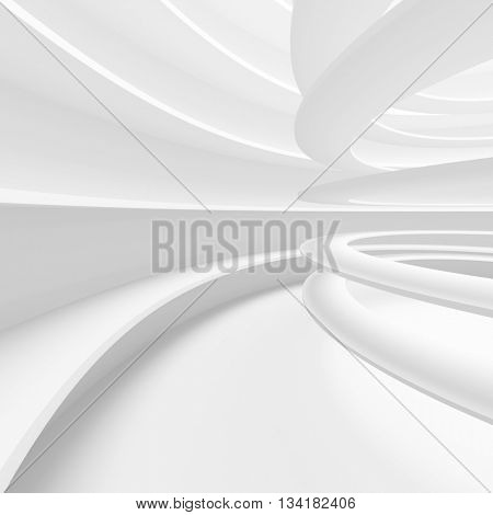 Abstract Architecture Background. 3d Illustration of White Circular Building. Modern Geometric Wallpaper.