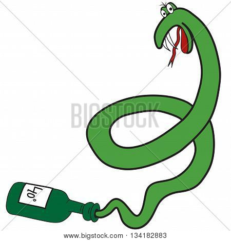 Cartoon green snake from the bottle as a symbol of the alcoholism