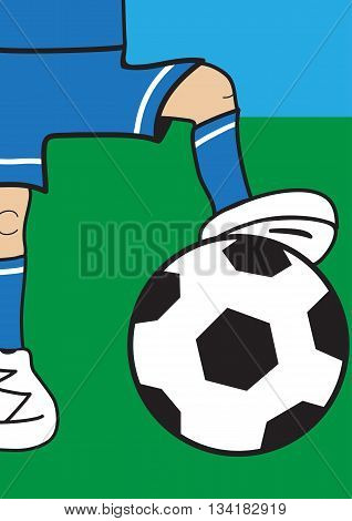 Illustration of part a cartoon football player with the ball