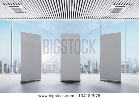 3d interior with  blank white roll up banners