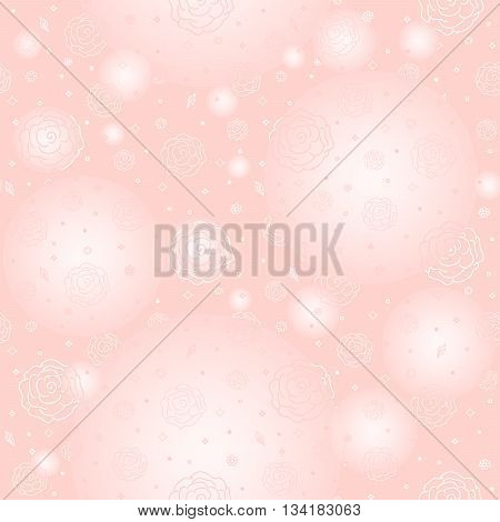 Seamless pattern - roses on a gentle pink background poster